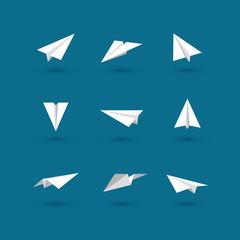 White paper plane icons