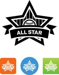Baseball All-Star Icon - Illustration