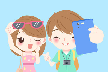 cartoon couple selfie happily