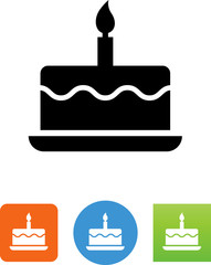 Birthday Cake With Candle Icon - Illustration