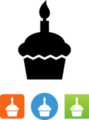 Birthday Cupcake Icon - Illustration