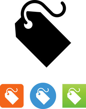 Blank Price Tag With String Icon - Illustration