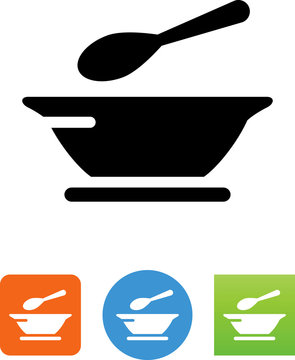 Bowl And Spoon Icon - Illustration