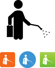 Bug Exterminator Spraying Icon - Illustration