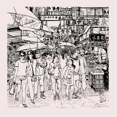 Keuken foto achterwand Art Studio Hong Kong, people in a street