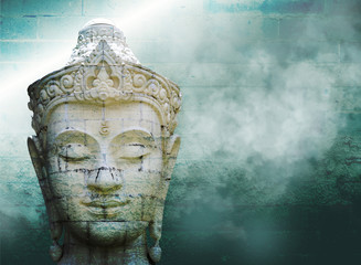 Foto op Textielframe Boeddha Abstract grungy old wall over white buddha head with smoke over vintage wall background