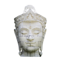 Old white stone Buddha head isolate on white background, from public Buddhist temple in north of Thailand