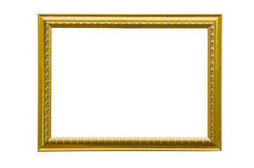 Old golden picture frame isolated on white background.