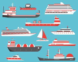 Ships Set. Oil Tanker, Yacht, Bulk Carrier, Gas Tanker and Passenger Cruise Ship.