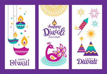 Set of Diwali Hindu festival greeting cards with modern elements