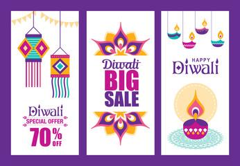 Set of Diwali Hindu festival sale posters
