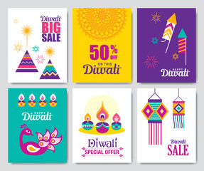 Set of Diwali Hindu festival sale posters and greeting cards