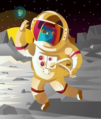 astronaut floating jumping on the moon surface