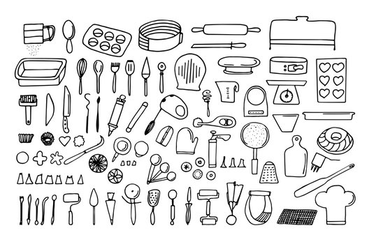 Baking tools and essentials. Hand drawn bakery supplies. Line vector kitchen utensils icon set.