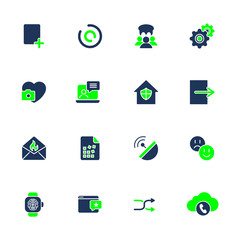 Different icons for mobile apps, sites, programs. IT icons
