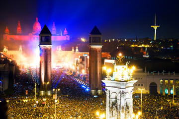 New Year night at  Placa Espana in Barcelona