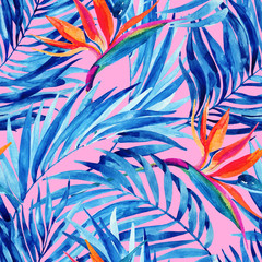 Watercolor tropical leaves and flowers summer seamless pattern.