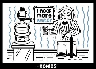 Comic old man with a staff and a glass wants to drink more water