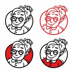 logo portrait old woman with glasses set