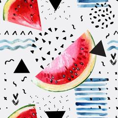 Poster de jardin Empreintes Graphiques Abstract watercolor summer background : watermelon, brush stroke, doodle, paper texture.