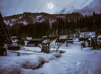 Snow covered ground in winter. Town with night sky and full moon, serenity nature.