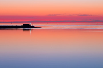 Wall Mural - Waddensea Sunset with Pier