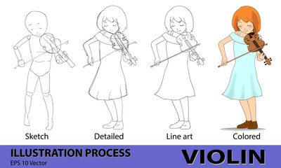 girl violin musician drawing process step from sketch, detailed, line art and colored, vector illustration