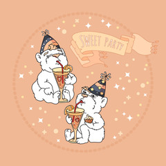 Sweet party card with two cute bears.