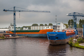 Inland Navigation Ships in a Harbor