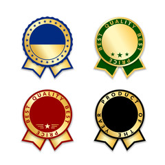 Ribbon award best price labels set. Gold ribbon award icons isolated white background. Best quality golden label for badge, medal, best choice, certificate guarantee product Vector illustration
