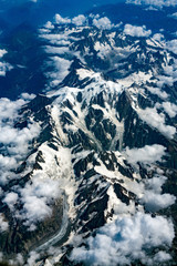 Swiss alps aerial view from airplane
