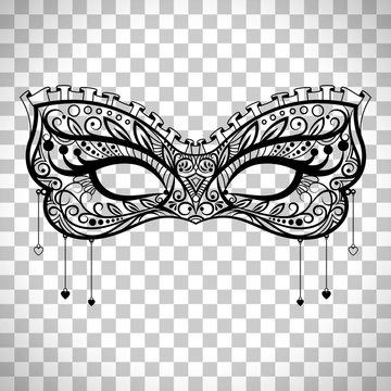 Elegant carnival mask on transparent background