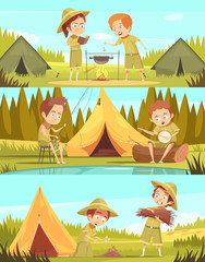 Scouts Activities Cartoon Banners Set