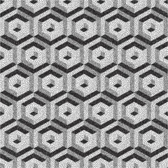 Honeycomb background. 3D mosaic. Black and white grainy dotwork design. Pointillism pattern. Stippled vector illustration.