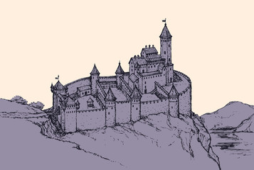 Castle Romanesque style. Vector drawing