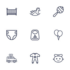 Set Of 9 Baby Outline Icons Set.Collection Of Diaper, Rattles, Bib And Other Elements.