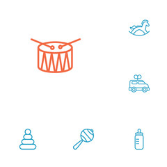 Set Of 6 Kid Outline Icons Set.Collection Of Rattles, Rocking Horse, Clockwork Car And Other Elements.