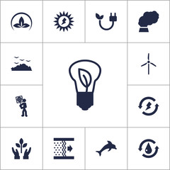 Set Of 13 Atmosphere Icons Set.Collection Of Saving, Energy, Protection And Other Elements.