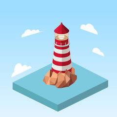 Lighthouse on a rock isometric vector illustration