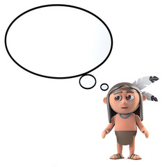 3d Funny cartoon Native American Indian is thinking