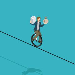 balance businessman balancing on a wire