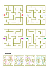 Collection of four different square maze templates suitable for various designs and projects from games and activities for kids to metaphorical business concepts. Answers included.