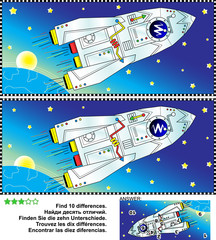 Picture puzzle: Find the ten differences between the two pictures of outer space, spaceship or rocket, Earth, Sun or Moon, and stars. Answer included.