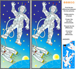 Picture puzzle: Find the ten differences between the two pictures of outer space, cosmonaut or astronaut, spaceship, Earth, Sun or Moon, and stars. Answer included.