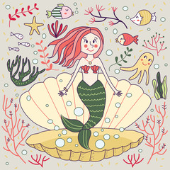 Mermaid Clam Green Cute Doodle Underwater