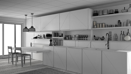 Unfinished project of minimalistic modern kitchen with wooden details, sketch abstract interior design