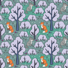 Baby colorful seamless pattern with the image of a cute forest animals. Vector Christmas background.