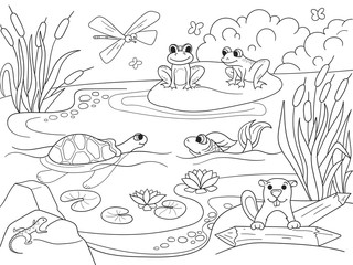 wetland landscape with animals coloring vector for adults