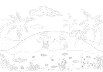 Drawing plate for kids with kids playing in ocean on a summer holiday beach