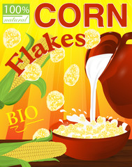 Corn flakes in a bowl. Milk pouring from the jug a plate. Label for cereal boxes. Vector